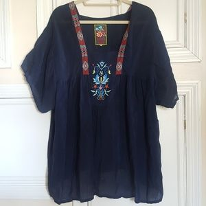 Johnny Was navy tunic blouse